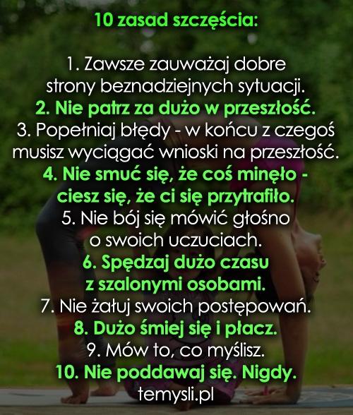 10 zasad szczęścia: