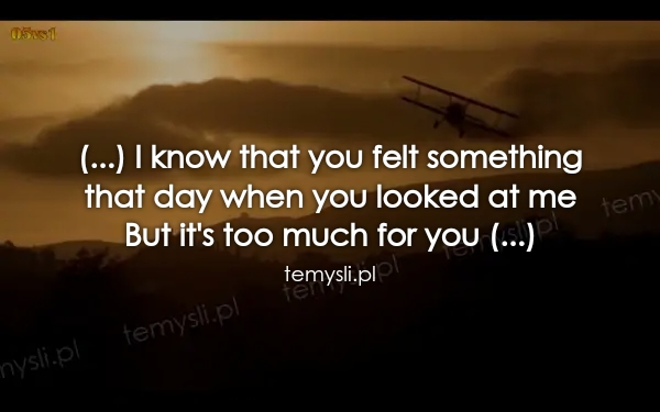 (...) I know that you felt something  that day when you look