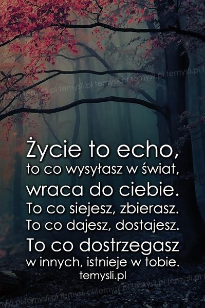 Życie to echo, to co wysyłasz w świat..