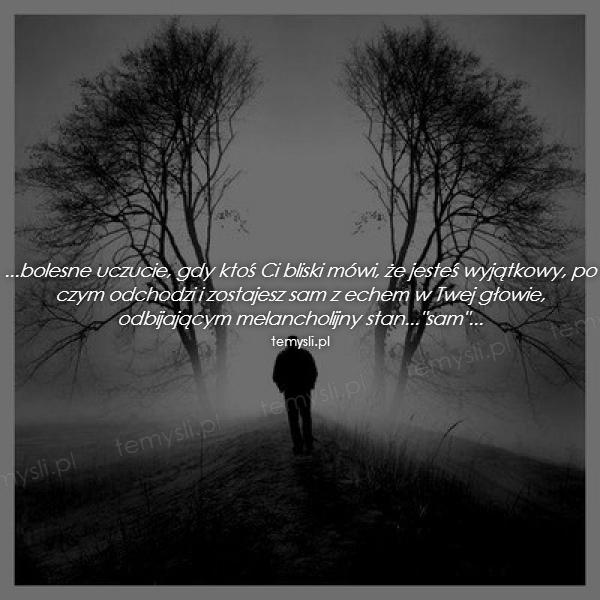 ...bolesne uczucie, gdy ktoś Ci bliski mówi, że jesteś wyjątkowy, po czym odchodzi i zostajesz sam z echem w Twej głowie, odbijającym melancholijny stan...
