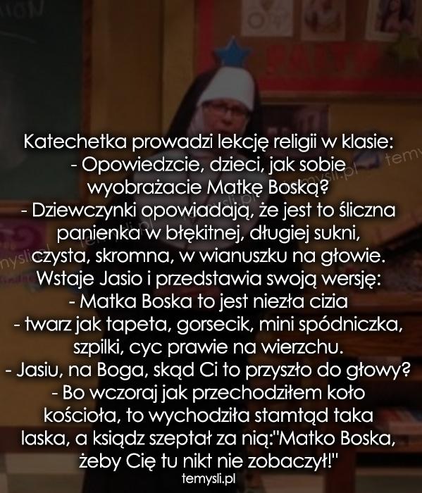Katechetka prowadzi lekcję religii w klasie: