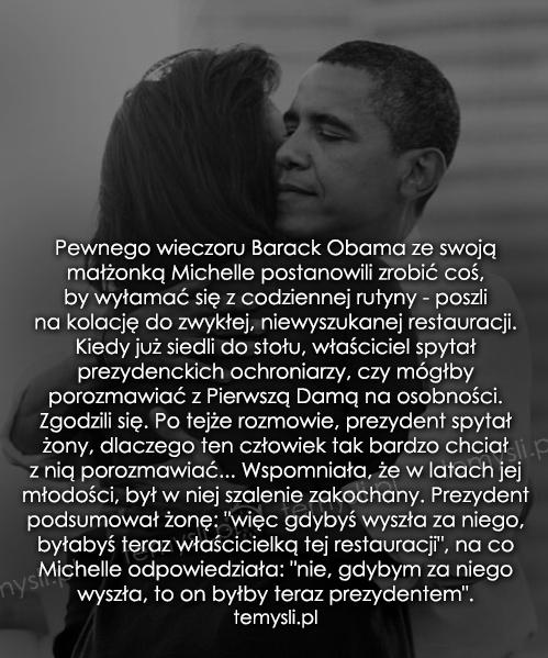 Pewnego wieczoru Barack Obama ze swoją małżonką Michelle...