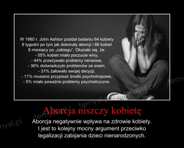 Aborcja niszczy kobietę