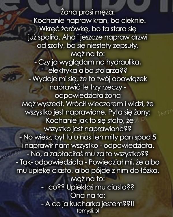 Żona prosi męża: