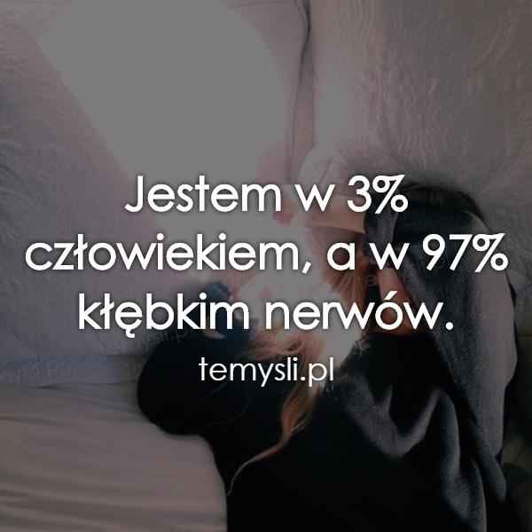 Jestem w 3% człowiekiem, a w 97% kłębkim nerwów.