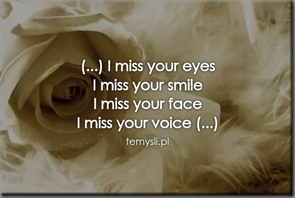 (...) I miss your eyes  I miss your smile  I miss your face