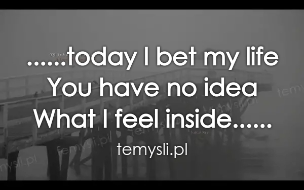 ......today I bet my life You have no idea What I feel insid