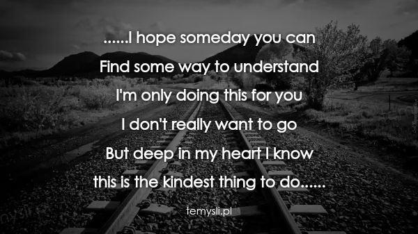 ......I hope someday you can  Find some way to understand  I