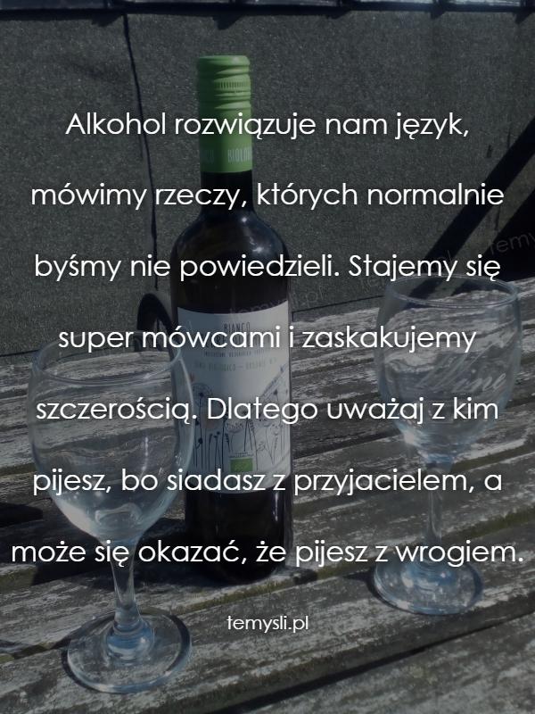 Alkohol rozwiązuje nam język, mówimy rzeczy, których normaln