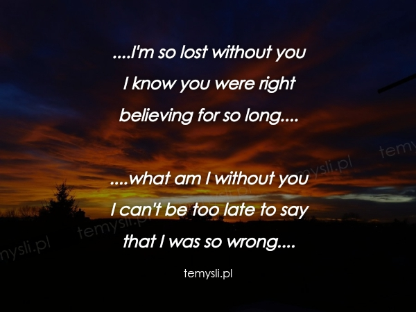 ....I'm so lost without you I know you were right  believing