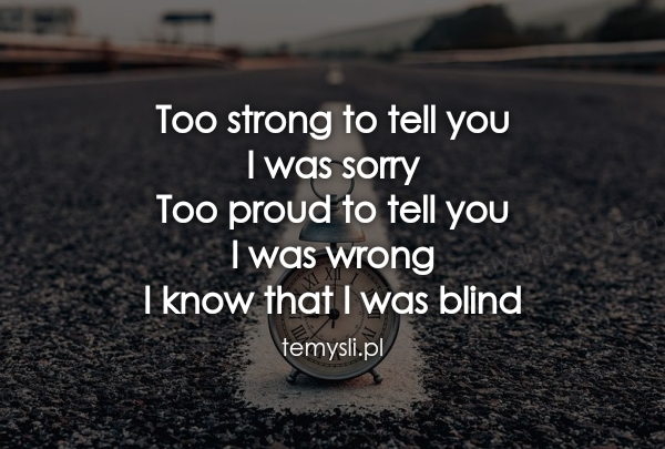 Too strong to tell you  I was sorry Too proud to tell you  I