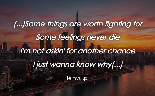 (...)Some things are worth fighting for  Some feelings never