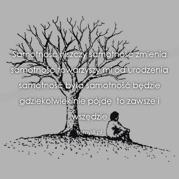 Samotność niszczy samotność zmienia samotność towarzyszy mi